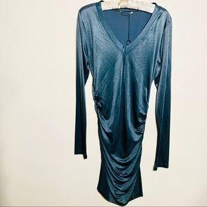 BLACK HALO new gray shiny body con dress sz large